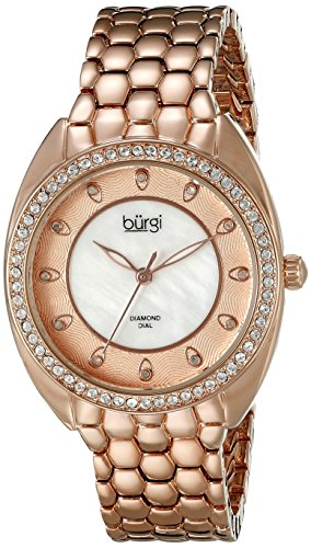 Burgi Women's BUR145RG Rose Gold Quartz Watch With Swarovski Crystal and Diamond Mother of Pearl Dial With Rose Gold Bracelet
