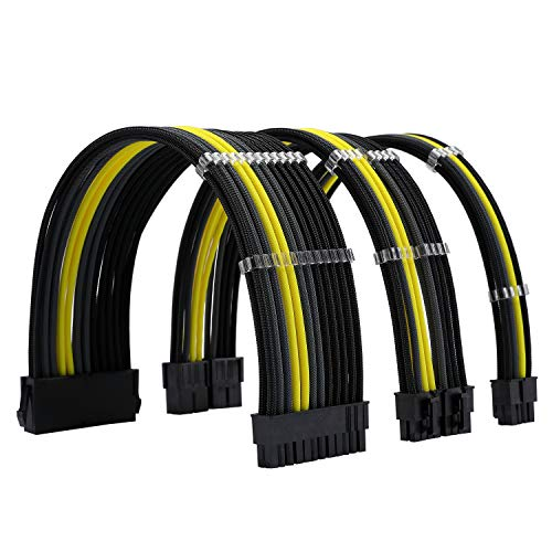 FormulaMod Sleeve Extension Power Supply Cable Kit 18AWG ATX 24P+ EPS 8-P+PCI-E8-P with Combs for PSU to Motherboard/GPU Fm-NCK3 (Black Grey Yellow)