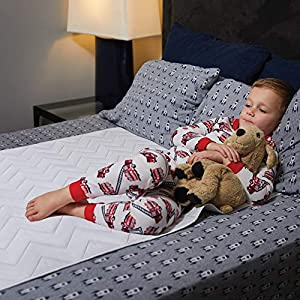 MIGHTY MONKEY Slip-Resistant Incontinence Mattress Pad Cover for Bed Wetting, 52×34, Oeko Tex Certified, Waterproof, Reusable, Soft Cotton Blend, Washable Protector Pad, Children and Toddlers, Elderly