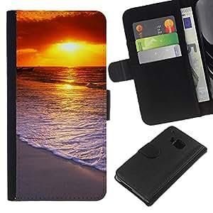 Ihec-Tech / Flip PU Cuero Cover Case para HTC ONE M7 - Sunset Beautiful Nature 58