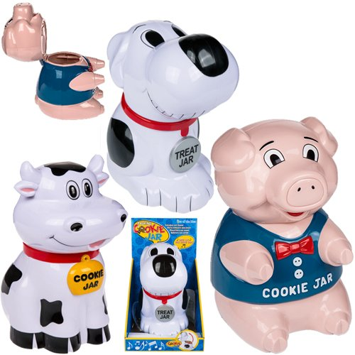 COOKIE JAR WITH SOUNDS STORAGE KITCHEN TREATS BISCUIT BARREL TIN 25CM FUN BOX (COW) OOTB