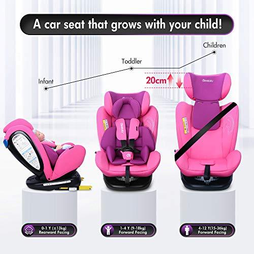 Reebaby Baby Autositz 360/° drehbar Gruppe 0+1//2//3 mit Protektoren seitliche Isofix Top Tether ECE R44//04 0-36 kg//0-12 Year