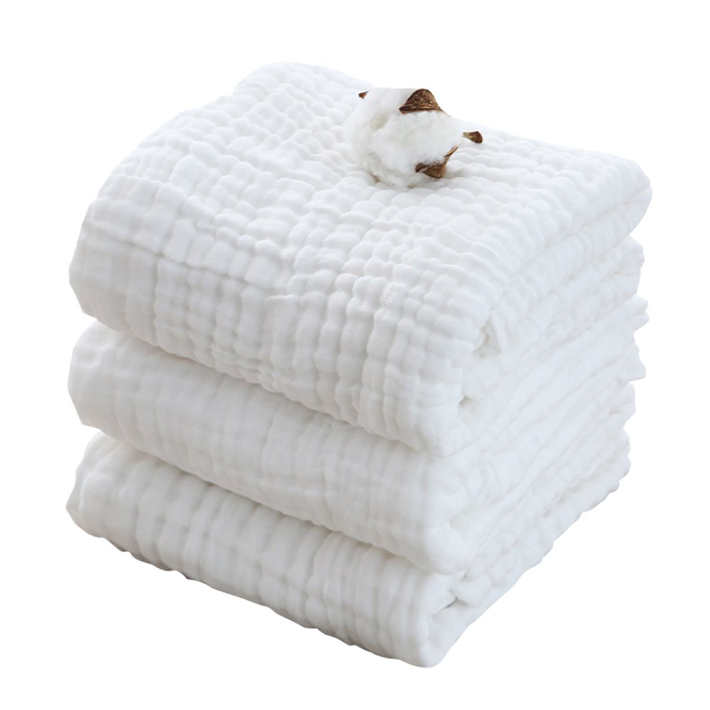 Magic Baby Bath Towel/Blanket - Organic and Hypoallergenic, Soft Muslin Cotton Newborn Towels and Washcloths Keep Kids Warm for Beach Swimming 41x41 Inch (Pack of 3, White) by Magic