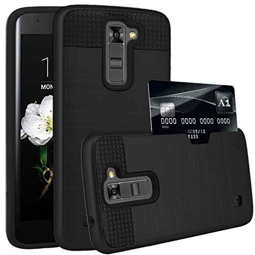 LG Tribute 5 Case, LG K7 Case, KAMII Hard silicone Rubber Hybrid Armor Shockproof Protective Holster Case Cover with Credit Card Slots Holder for LG Tribute 5, LG K7 (Tribute Hybrid)