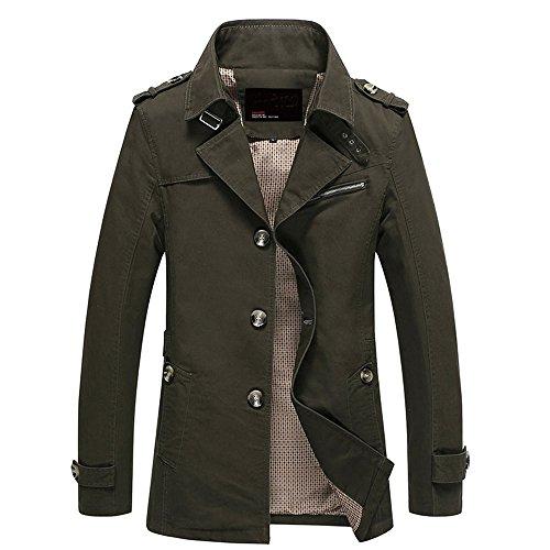 Trenchcoat Herren, CRAVOG Fashion Einreihig Langer Abschnitt Beiläufige Sitz Militär Jacke Anzug für Herbst Winter (XL, Armeegrün)