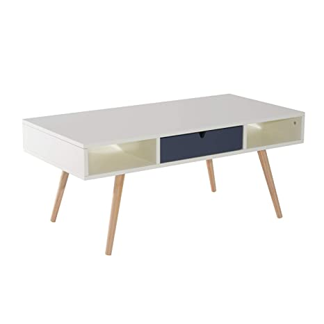 Swell Homcom 40 Modern Wooden Coffee Table With Drawer White Blue Grey Woodgrain Lamtechconsult Wood Chair Design Ideas Lamtechconsultcom