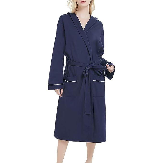 iCerber Bata De Pijamas De Gran Tamaño para Mujer,Color SóLido con Capucha Abrigo De
