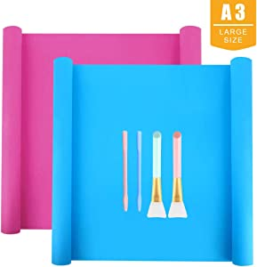 Large Silicone Craft Mat(15.8'' x 11.8'') Set Includes 2 PCS Extra Large Silicone Sheet for Crafts, 2 PCS Silicone Stir Sticks and 2 PCS Silicone Brushes for Making Craft Glitter Tumblers