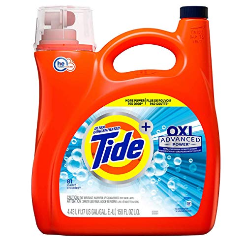 Tide Oxi + Advanced Power Ultra Concentrate, High Efficiency Turbo Clean, Liquid Laundry Detergent 150 Fl.Oz / 4.43 L - 81 Loads, Extra Stain Removel for Whites & - Liquids Efficiency High