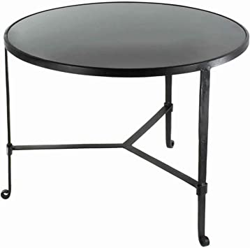 Benjara Contemporary Coffee Table With Metal Frame And Round Stone Top Black Amazon Ca Home Kitchen