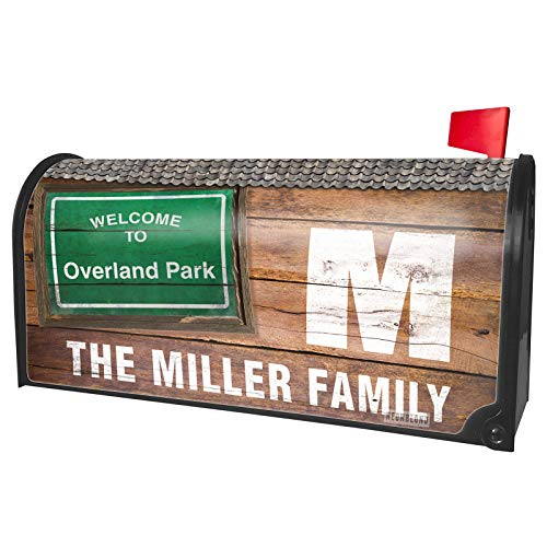 NEONBLOND Custom Mailbox Cover Green Road Sign Welcome to Overland Park