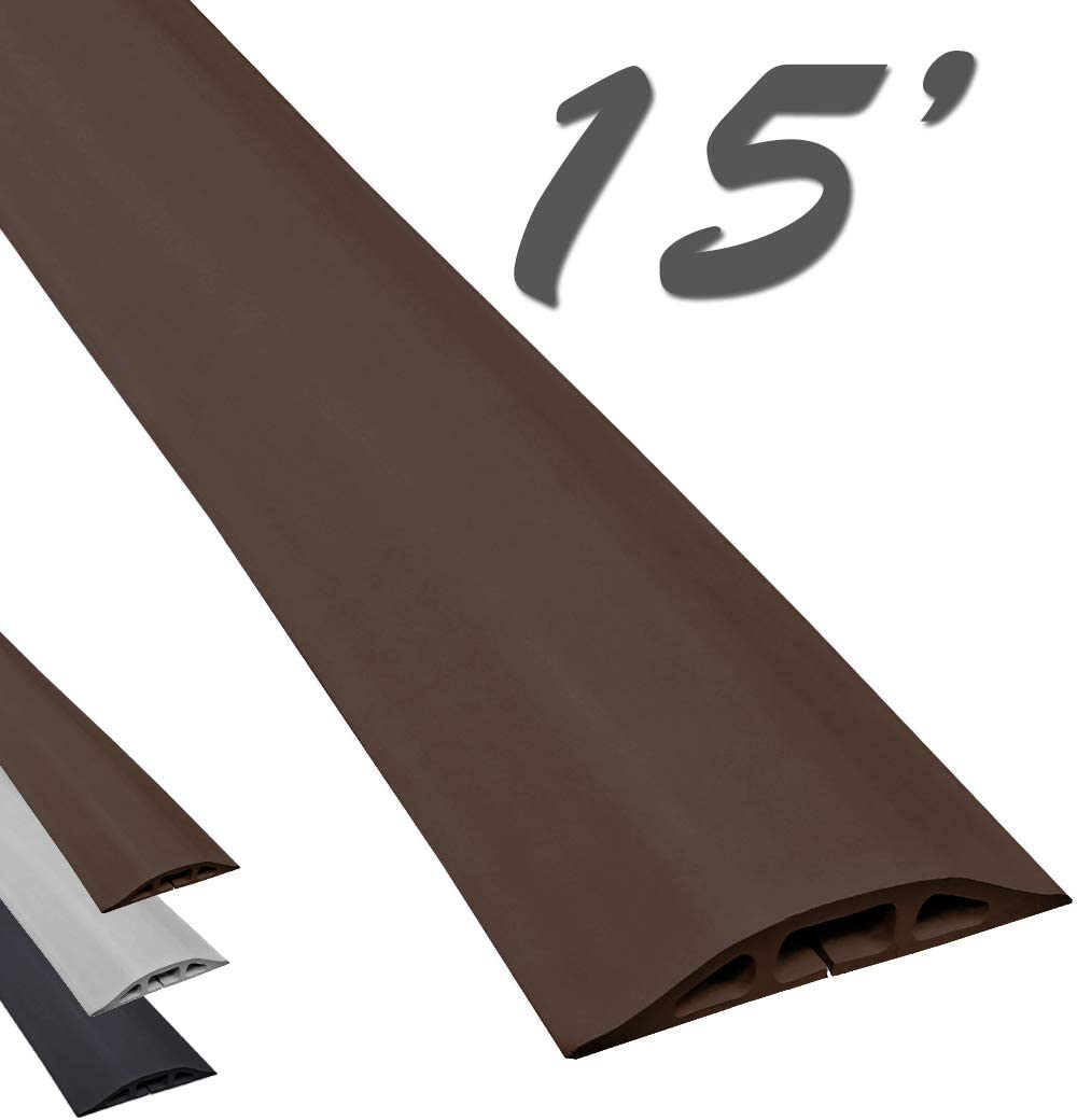 Electriduct D-2 Low Profile Rubber Duct Cord Cover Floor Cable Protector - 15 Feet - Brown (Raw Rubber Material)