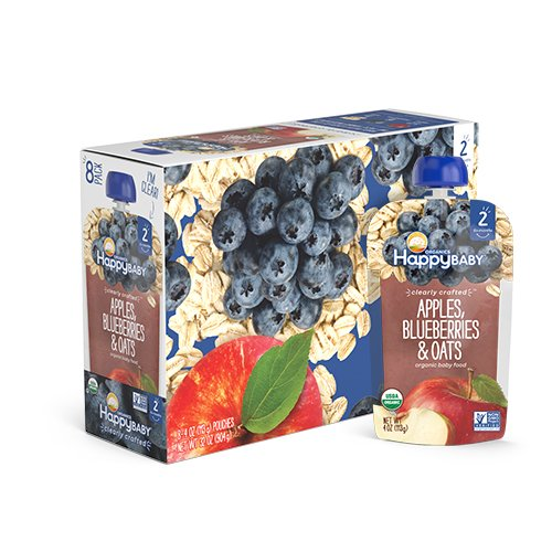 Happy Baby Organic Clearly Crafted Stage 2 Baby Food Apples, Blueberries & Oats, 4 Ounce Pouch (Pack of 16)