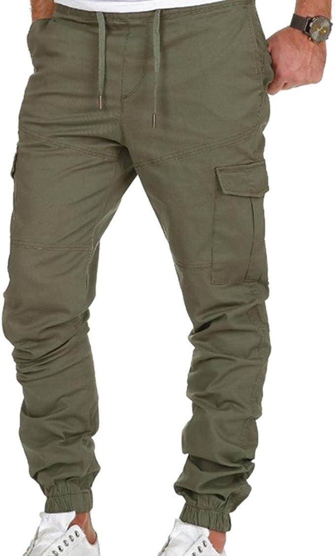 Hombres Bolsillo Pie de Haz Pantalones Cintura Media Color sólido ...