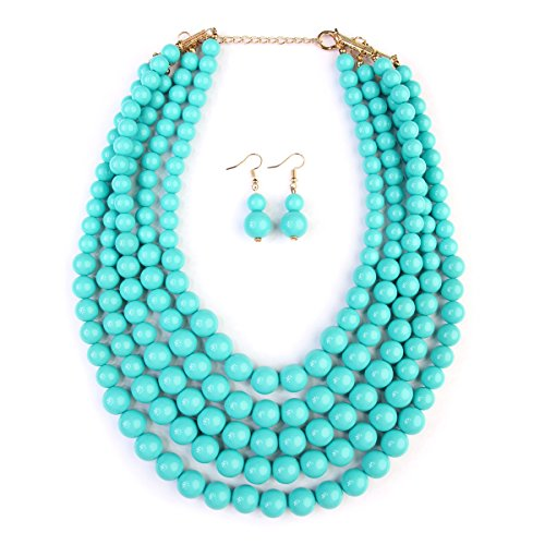 MYS Collection RIAH FASHION Beaded Bubble Statement Necklace - Multi Strand Colorful Bead Layered Bib Necklace (Turquoise)