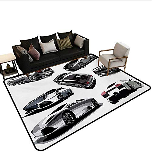 Indoor Floor mat,Grey Cars from Various Angles Automobile Industry Theme Vehicle 6'x7',Can be Used for Floor Decoration]()