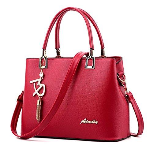 Sunyastor Hot Sale! Sunyastor Womens Fashion Women Leather Crossbody Bag Shoulder Bag Messenger Tote Bag Hangbag Purses Designer Satchel with Pendant (Red, one Size) ()