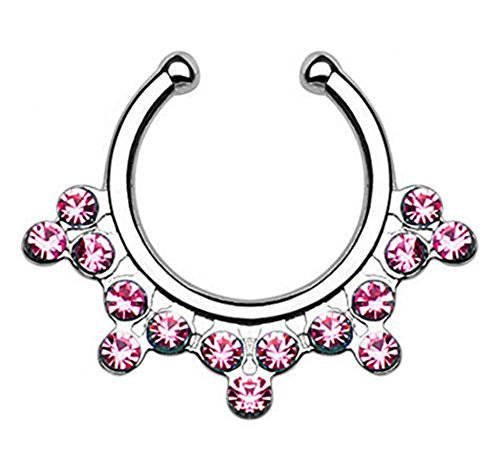 1pc Non-Piercing Snowflake Gem Septum Hanger Clip-On Fake Nose Ring Body Jewelry (Silver with Pink Gems) (Snowflake Piercing Gem compare prices)
