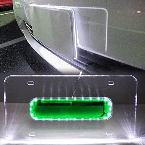 Universal Auto White LED Light Acrylic License Plate Frame Holder MINGLI 12V 26 LEDs Car Lighted Edge Lit White LED Light Plaque Plate Number Lamp Shell Frame ()