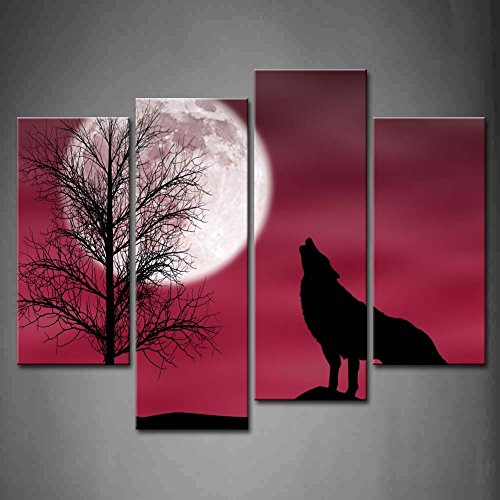 Wall Art Red Howling Wolf In A Dark And Cloudy