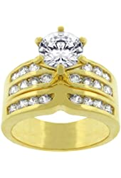 18k Gold Plated Engagement Ring Set with Channel and Prong Set Round Cut Clear CZ in Goldtone