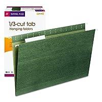 Carpeta de archivos colgada de Smead con lengüeta, lengüeta ajustable de 1/3 corte, tamaño legal, verde estándar, 25 por caja (64135)