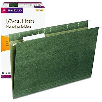 Smead Hanging File Folder with Tab,  1/3- Cut Adjustable Tab, Legal Size, Standard Green,  25 per Box (64135)