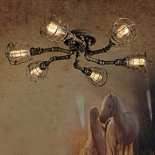 FidgetGear 6 Lights Rustic Industrial Cage Pipe Pendant Light Loft Chandelier Ceiling Lamp by FidgetGear (Image #2)