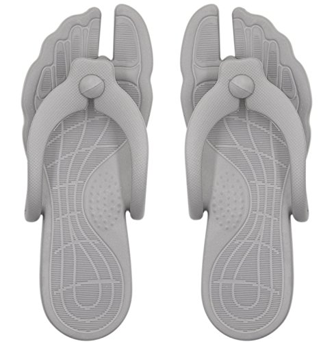 Aibearty Foldable Portable Women Flip Flops Indoor and Outdoor Beach Slippers Gray Wq853