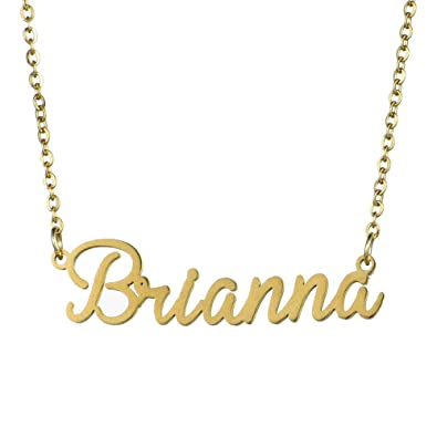 4514b79a4b6b1 Amazon.com: Zysta Gold Stainless Steel Brianna Name Necklace Girls ...
