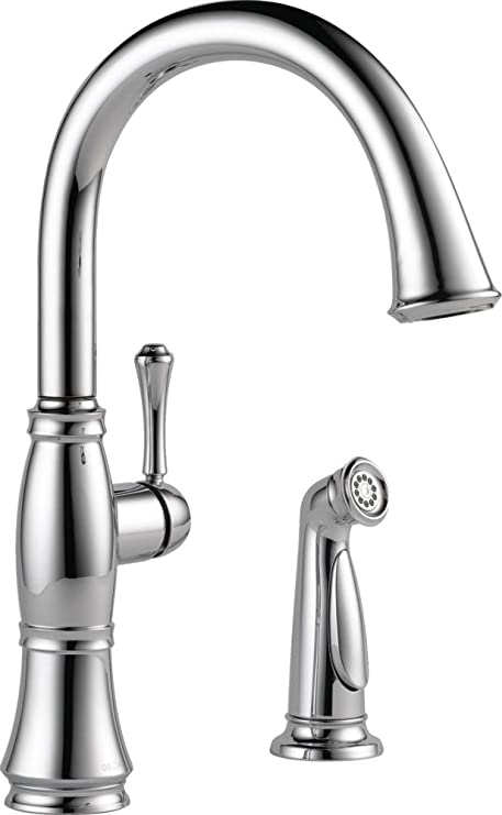 Delta Faucet 4297-DST Cassidy Single Handle Kitchen Faucet with Spray,  Chrome