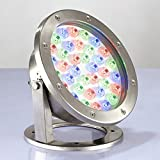 LUMINTURS 36W LED RGB Color Changing Spot Light Fixture Outdoor Underwater Flood Lamp Waterproof IP68