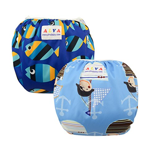 ALVABABY Swim Diapers Large Size 2pcs Pack One Size Reuseable &Adjustable 0-36 mo.Size 18-55lbs ZSW03-04