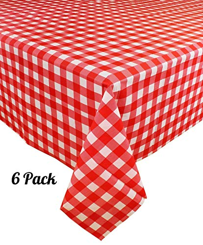 [6 Pack] Plastic Red and White Checkered Tablecloth, Disposable Gingham Party Table Covers, Rectangle 54