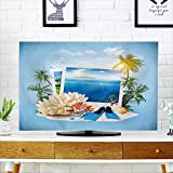 PRUNUS Cord Cover for Wall Mounted tv Diving Equipment and Corals on Sand Travel Background Cover Mounted tv W19 x H30 INCH/TV 32''