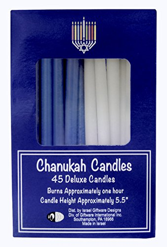 Chanukah Menorah Candles Blue & White 45 Per Box Made in Israel