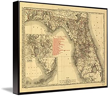 Antique Map Of Florida.Amazon Com Wall Art Print Entitled Antique Map Of Florida By Rand