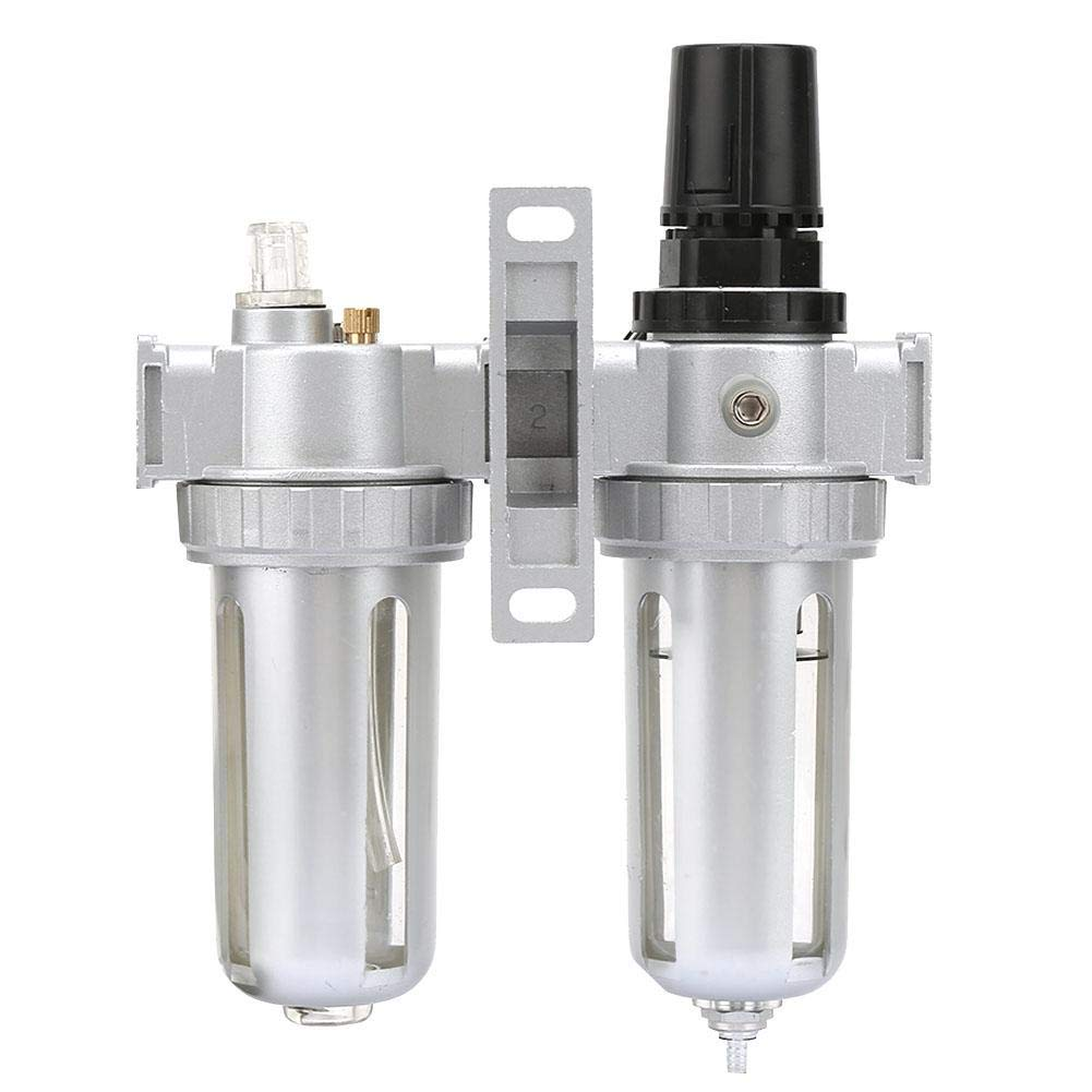 wosume Air Filter Regulator 1//4 Air Pressure Compressor Regulator Filter Lubricator Oil Water Regulator with Gauge