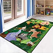 RuiHome Jungle Theme Kids Game Play Mat Educational Fun Nursery Rug Classroom Bedroom Decor Non-Slip Floor Carpet 47x63""