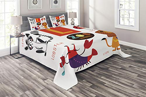 Lunarable ABC Coverlet, Zoo Alphabet in L Letter with Lobster Lion Ladybird Lemur Humor School My Name, 3 Piece Decorative Quilted Bedspread Set with 2 Pillow Shams, King Size, Multicolor