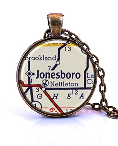 Jonesboro, Arkansas Map Pendant Necklace by Paper Towns Vintage. Jonesboro necklace handmade from a 1956 vintage map. Map necklace includes adjustable chain and gift packaging. Custom - Jonesboro Ar Glass