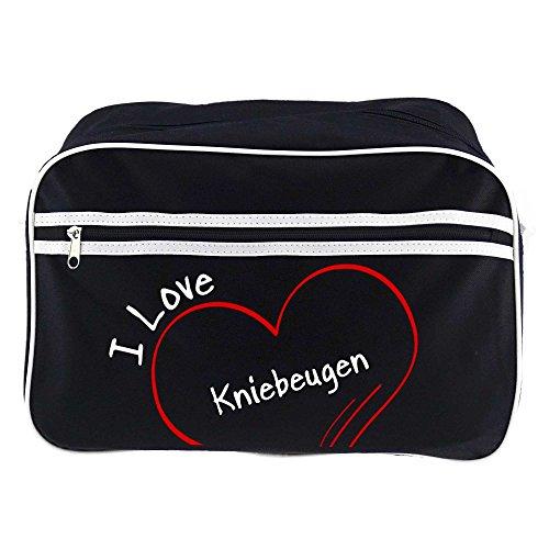 Retrotasche Modern I Love Kniebeugen schwarz