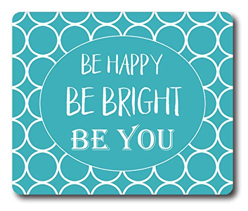 Ice Rabbit Rectangle Mouse Pad Custom,Be Happy Inspirational Quote Mouse Mat Non-Slip Gaming Rubber Mousepad