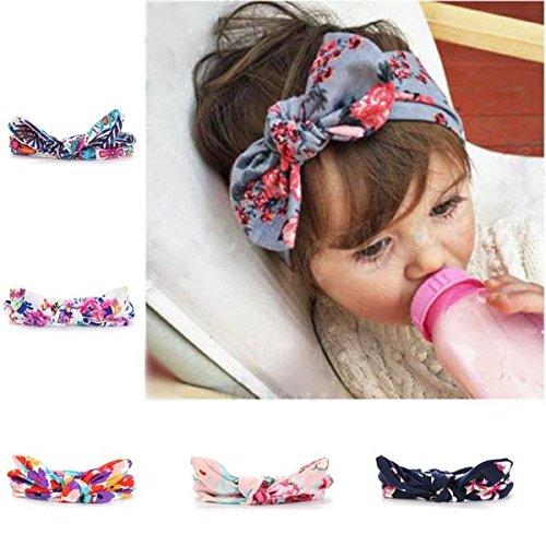 mark8shop Kids Baby Girl infantile Floral Bandeau Turban Nœud Papillon Noeud Lapin Bandeau Bandeau Accessoires