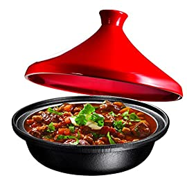 Cast Iron Moroccan Tagine Pot, Enameled Fire Red, 4 Quart, By Bruntmor 51 Ready for immediate use, this is lighter than other types of cast iron. Bright red enameled cast iron makes for a beautiful addition to your kitchen. Go from kitchen to dining table, use as serveware.