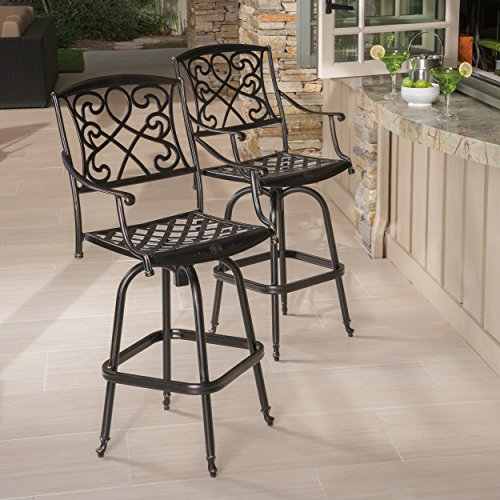 - Paris Copper Finish Cast Aluminum Swivel Bar Stools (Set of 2)
