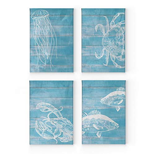 - Jellyfish Crab Lobster Fish White Illustration Blue Wooden Background Nautical Decor 4 Panel Canvas Print Set Coastal Wall Art Home Decor Stretched Ready to Hang-%100 Handmade in The USA- (12x8) x4