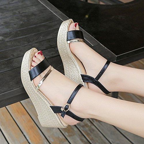 scarpe per Lady UK6 oro 5 nero qualità tacco di cunei donne sandali CN40 scarpe moda donne comoda sandali di EU39 alto US8 Piattaforma 5 PTq1wvp