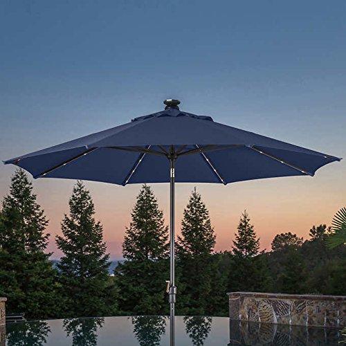 10' LED Solar Auto Tilt Aluminum Umbrella made with Sunbrella Fabric BLUE