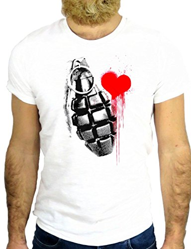 T SHIRT JODE Z1756 BOMB HEART WAR LOVE INK FUNNY COOL FASHION NICE GGG24 BIANCA - WHITE L
